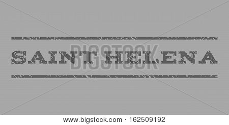 Saint Helena watermark stamp. Text tag between horizontal parallel lines with grunge design style. Rubber seal stamp with scratched texture. Vector dark gray color ink imprint on a silver background.