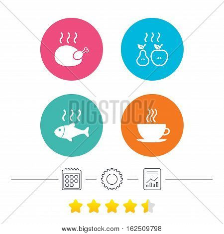 Hot food icons. Grill chicken and fish symbols. Hot coffee cup sign. Cook or fry apple and pear fruits. Calendar, cogwheel and report linear icons. Star vote ranking. Vector