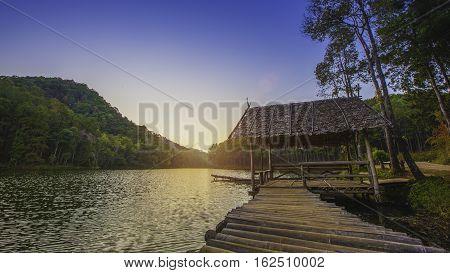 Bamboo raft in lake / Pang- Oung Thailand national park ,Mae Hong Son ,Thailand