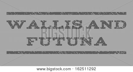 Wallis and Futuna watermark stamp. Text tag between horizontal parallel lines with grunge design style. Rubber seal stamp with unclean texture.