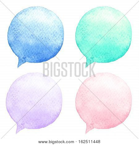 Watercolor Speech Bubbles Set. Hand-drawn Illustration. Social Media Icons.