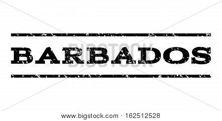 Barbados watermark stamp. Text caption between horizontal parallel lines with grunge design style. Rubber seal stamp with dirty texture. Vector black color ink imprint on a white background.