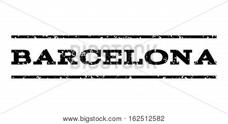 Barcelona watermark stamp. Text tag between horizontal parallel lines with grunge design style. Rubber seal stamp with scratched texture. Vector black color ink imprint on a white background.