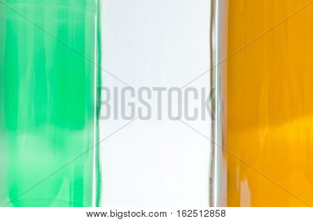 Flag of Ireland made of empty bottles