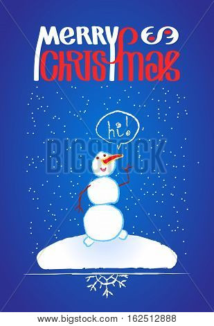 Snowman and Merry Chistmas lettering, hand drawn sketchy design element. Doodle illustration for greeting card or poster and border with snowflake