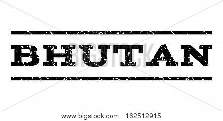 Bhutan watermark stamp. Text tag between horizontal parallel lines with grunge design style. Rubber seal stamp with scratched texture. Vector black color ink imprint on a white background.