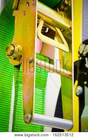 Close-up lock steel mechanism of ratchet straps
