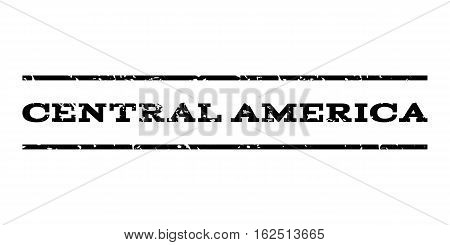 Central America watermark stamp. Text caption between horizontal parallel lines with grunge design style. Rubber seal stamp with scratched texture.