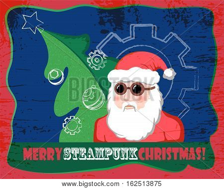Santa Claus with fir tree vector illustration in steampunk style. Steampunk Santa in racer glasses. Horizontal Christmas card or banner template in comics style. Handdrawn Santa Claus vintage postcard