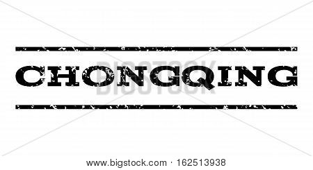 Chongqing watermark stamp. Text caption between horizontal parallel lines with grunge design style. Rubber seal stamp with unclean texture. Vector black color ink imprint on a white background.