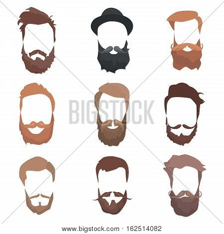 Hair and beards detailed set. Fashion bearded man silhouette. Long beard with facial hair. Black beard isolated on white background. Vector illustration
