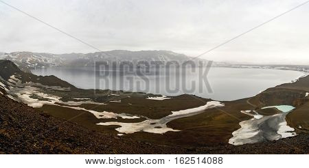 Oskjuvatn and Viti lakes in Askja crater Iceland