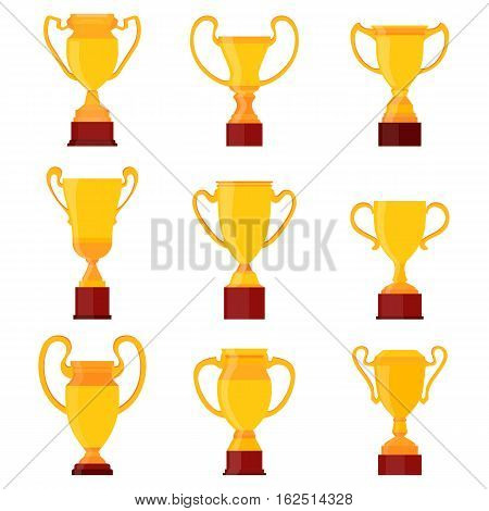 Winners gold cups. Set of different golden bowls champion award trophy. Vector cup sign
