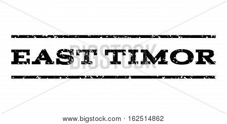East Timor watermark stamp. Text tag between horizontal parallel lines with grunge design style. Rubber seal stamp with dirty texture. Vector black color ink imprint on a white background.