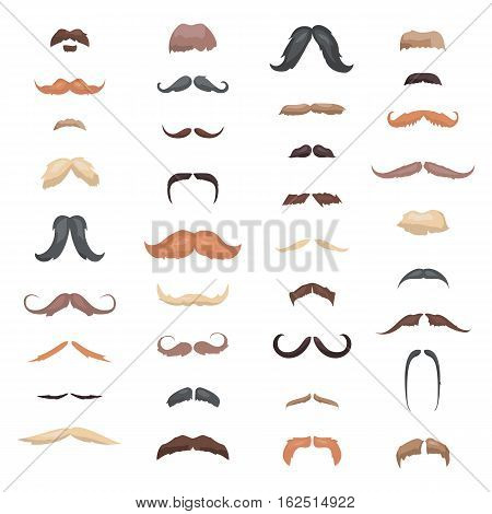 Huge collection mustache retro curly set. Mustache different colors and forms hair. Mustaches barber silhouette hairstyle hipster mask disguise. Vector fashion gentleman signs