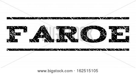 Faroe watermark stamp. Text tag between horizontal parallel lines with grunge design style. Rubber seal stamp with unclean texture. Vector black color ink imprint on a white background.
