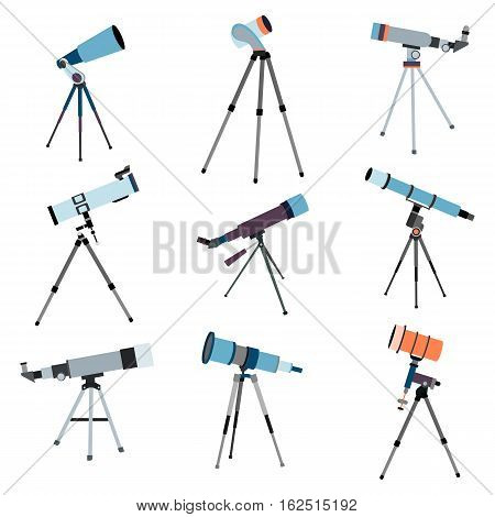 Telescope for astronomy. Optical instrument for search cosmos space. Vector illustration