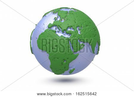 Earth, world map. Polygonal 3D globe with 3d render