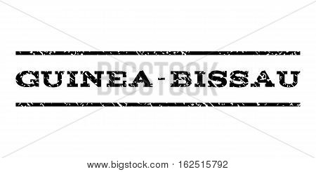Guinea-Bissau watermark stamp. Text caption between horizontal parallel lines with grunge design style. Rubber seal stamp with scratched texture. Vector black color ink imprint on a white background.