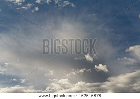 Cumulus clouds against a blue sky. Partly Cloudy. Predicting the weather.