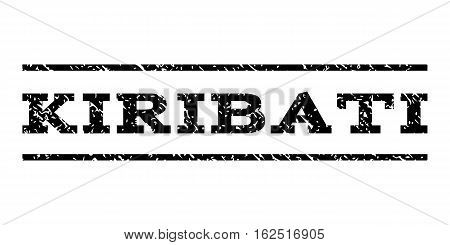 Kiribati watermark stamp. Text tag between horizontal parallel lines with grunge design style. Rubber seal stamp with scratched texture. Vector black color ink imprint on a white background.