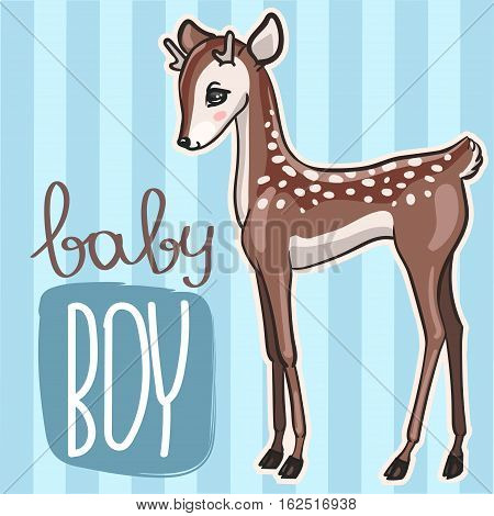 Little baby deer vector illustration. Cute blue card with little fawn boy