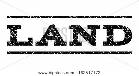 Land watermark stamp. Text caption between horizontal parallel lines with grunge design style. Rubber seal stamp with dirty texture. Vector black color ink imprint on a white background.