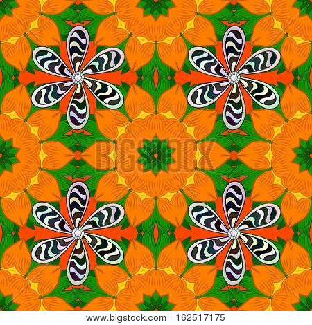 Mandalas background. Orange green with Striped flowers. Raster illustration.