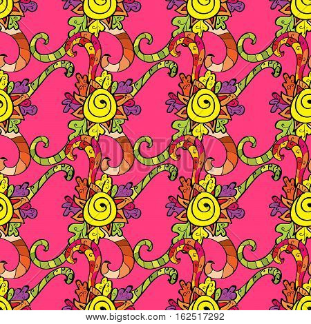 Doodles on pink background. Yellow. Curls. Raster. Row.