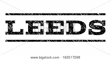 Leeds watermark stamp. Text caption between horizontal parallel lines with grunge design style. Rubber seal stamp with dust texture. Vector black color ink imprint on a white background.
