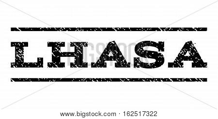 Lhasa watermark stamp. Text caption between horizontal parallel lines with grunge design style. Rubber seal stamp with dirty texture. Vector black color ink imprint on a white background.