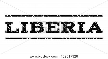 Liberia watermark stamp. Text caption between horizontal parallel lines with grunge design style. Rubber seal stamp with dirty texture. Vector black color ink imprint on a white background.