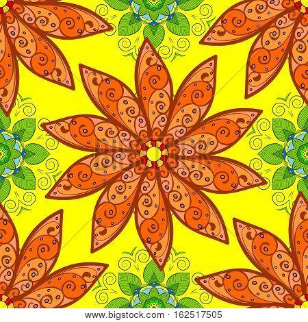 Mandalas background. Yellow background. Petals. Orange. Raster illustration.