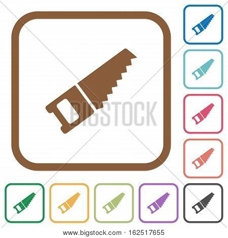 Hand saw simple icons in color rounded square frames on white background
