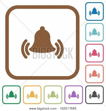 Ringing bell simple icons in color rounded square frames on white background