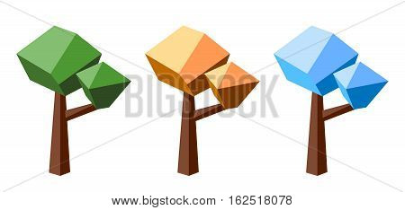 Low poly tree colored in three seasons colors: summer autumn and winter. Seasonal design element. Tree isolated on white. Green and orange leaves. Snow crown. Polygonal vector illustration