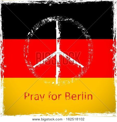 Vector illustration of peace symbol icon on Germany flag grunge design Peace for Berlin Pray for Berlin.