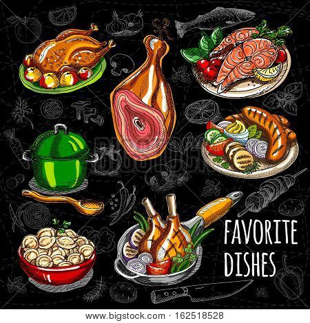 Set color sketch meat, fish, side dishes. Favorite dishes, soup, chicken, tomatoes, mushrooms, onion, salmon, meat, sausage grill ham potato meat dumplings Hand draw vector illustration
