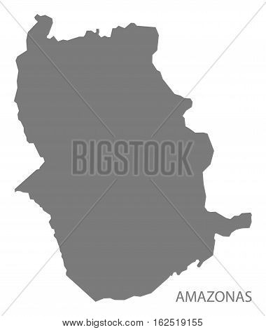 Amazonas Venezuela Map in grey federal state silhouette illustration