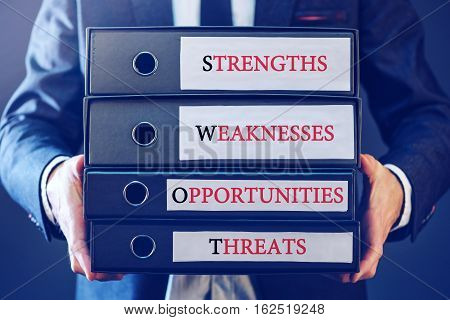 Business SWOT analysis concept businessman with ring binders for strength weakness opportunity and threat folders.