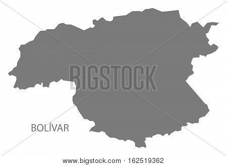 Bolivar Venezuela Map in grey federal state silhouette illustration