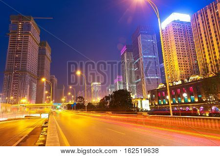 City Building Street Scene And Road Of Night Scene