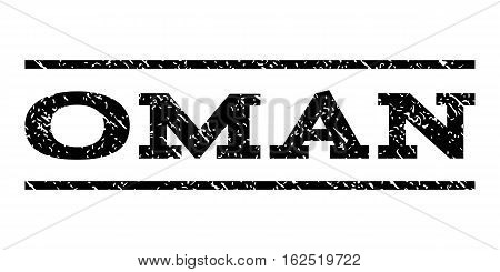 Oman watermark stamp. Text tag between horizontal parallel lines with grunge design style. Rubber seal stamp with unclean texture. Vector black color ink imprint on a white background.