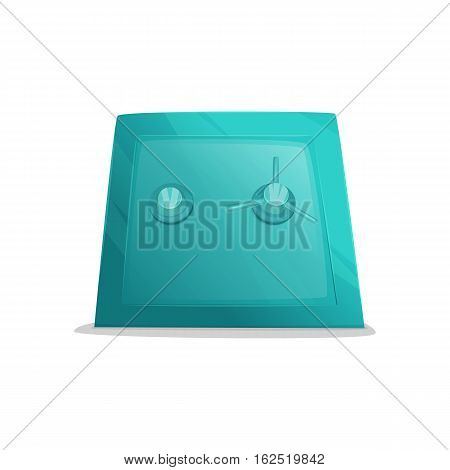 Metal cartoon safe. Illustration of closed safe isolated on a white background.