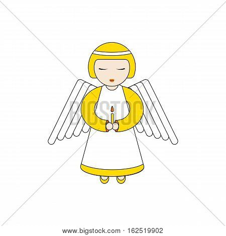 Angel character praying with a candle in hands. Stock vector illustartion for christmas greeting cards on religious occasions
