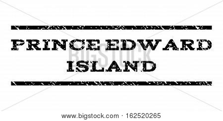 Prince Edward Island watermark stamp. Text caption between horizontal parallel lines with grunge design style. Rubber seal stamp with unclean texture.