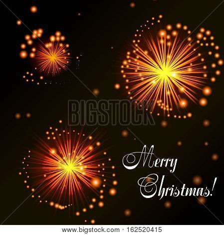 Christmas card. Orange fireworks on dark background. Abstract background for your design. Vector illustration