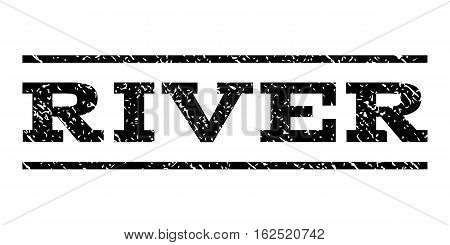River watermark stamp. Text tag between horizontal parallel lines with grunge design style. Rubber seal stamp with scratched texture. Vector black color ink imprint on a white background.