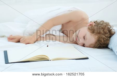 Boy fell asleep on the entries in the notebook.