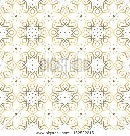 Seamless pattern of gold arabesques on a white background. Rosette serial rhythmic pattern.